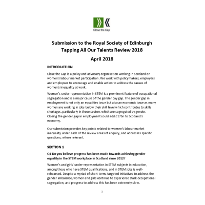 Submission to the Royal Society of Edinburgh Tapping All Our Talents Review 2018