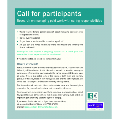 Call for participants: Research on managing paid work with caring roles